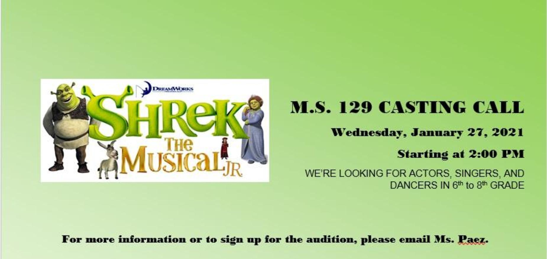 SHREK JUNIOR AUDITIONS JANUARY 27
