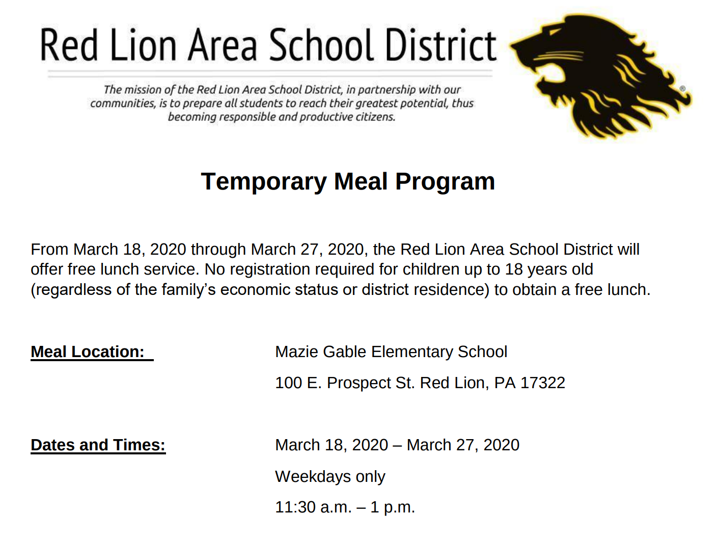 Temporary Meal Program at Mazie Gable Elementary, Red Lion 11:30 am to 1:00 pm March 18 to 27, 2020 (weekdays only)