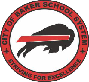 City of Baker School System Red Logo with Charging Buffalo