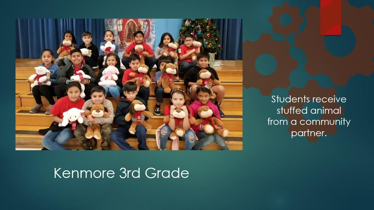 3rd grade students with their toys.