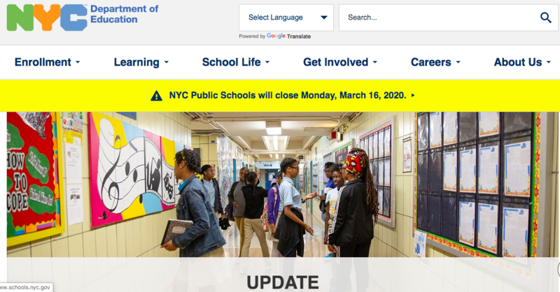 NYCDOE Schools closed starting tomorrow March 16 Featured Photo