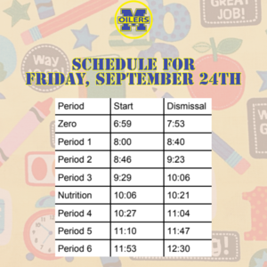 Schedule for Friday