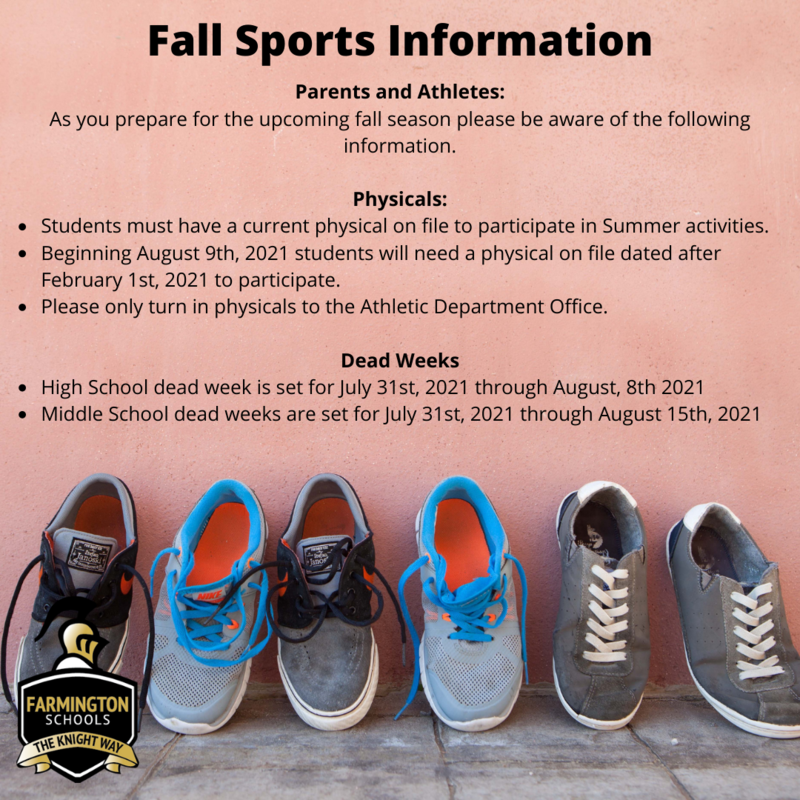 Information Regarding Fall Sports 2021