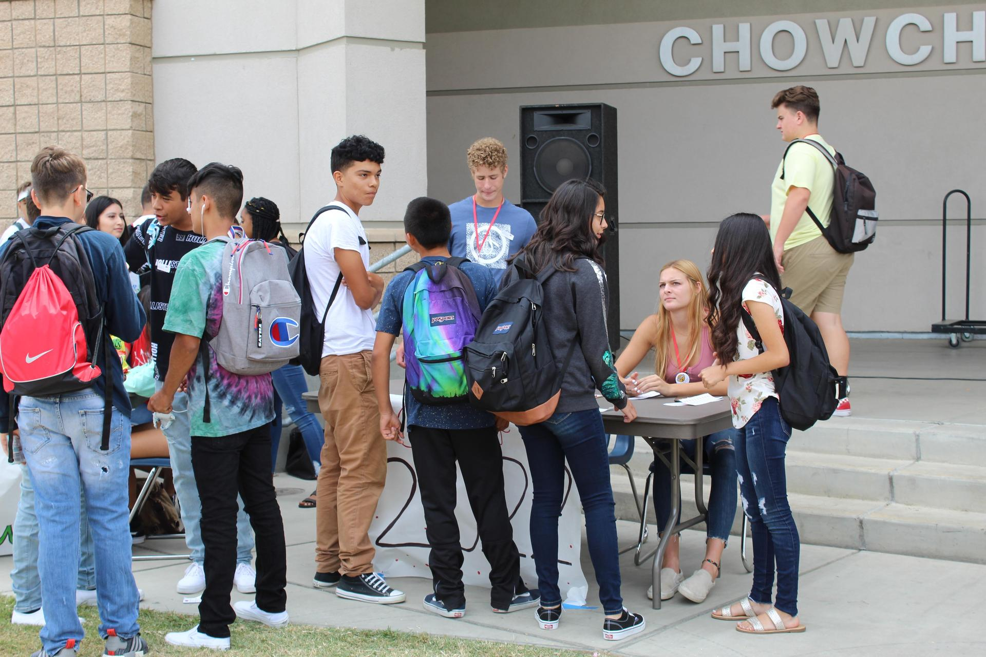 Students and teachers at Club Rush
