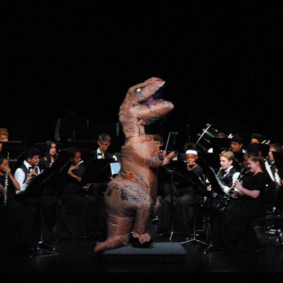 Spring Concert...yes, that is me as T-Rex
