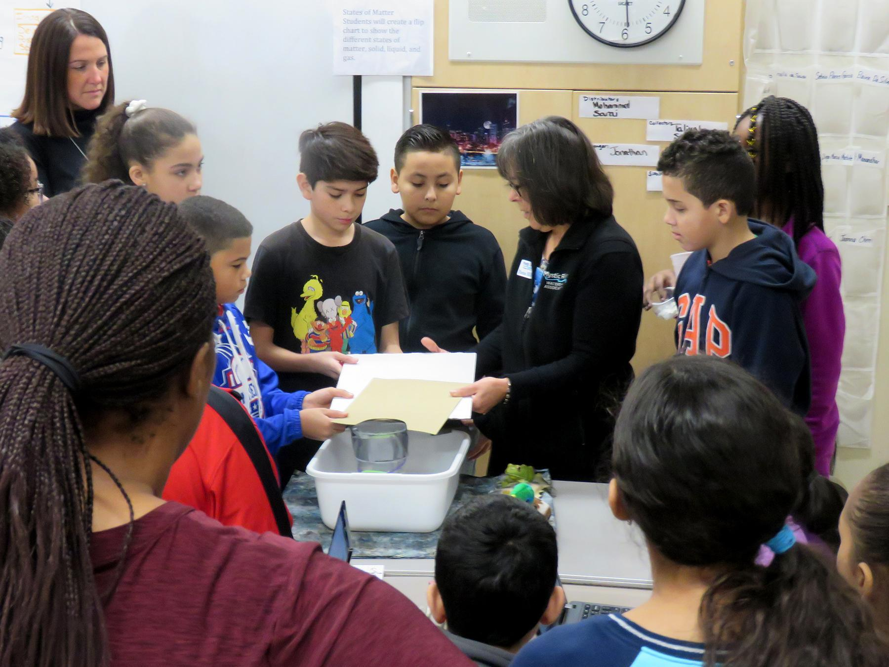 Students test a filtration device