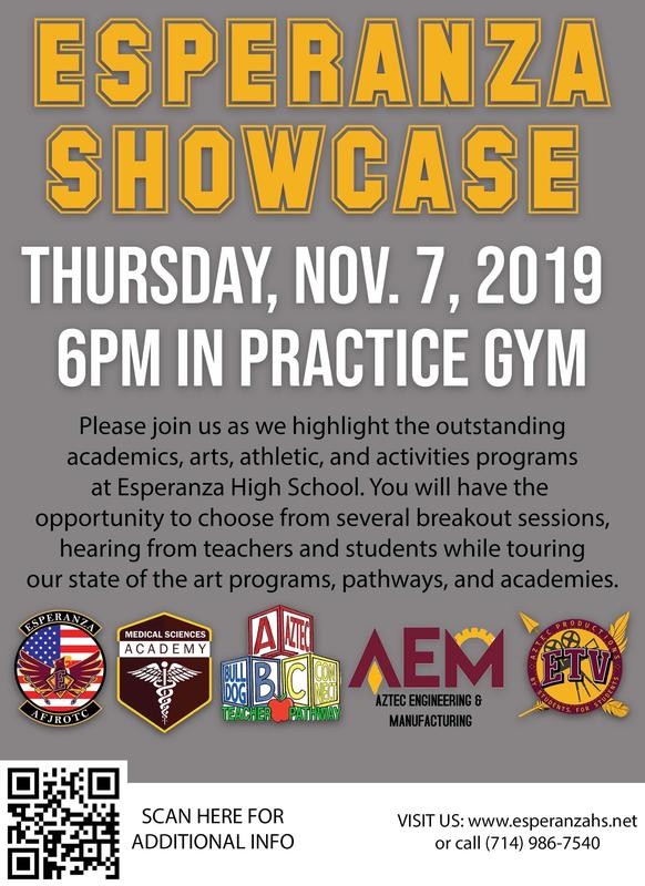 Esperanza High School Showcase: Thurs, Nov 7th @ 6pm Thumbnail Image