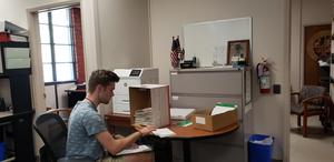 student intern working at clerk recorder office