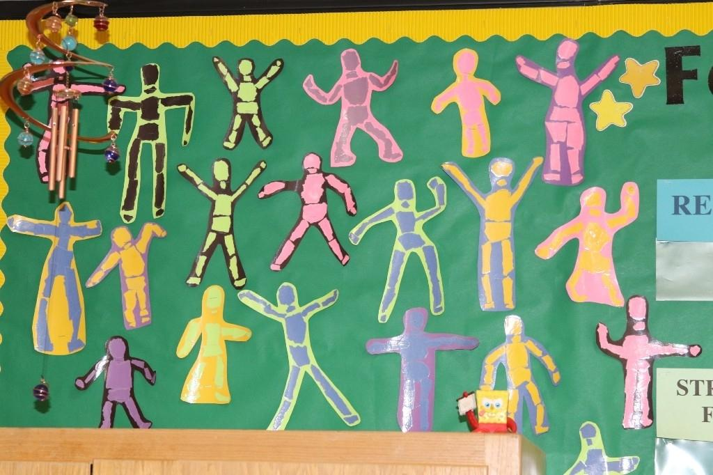 Student artwork being displayed in the classroom