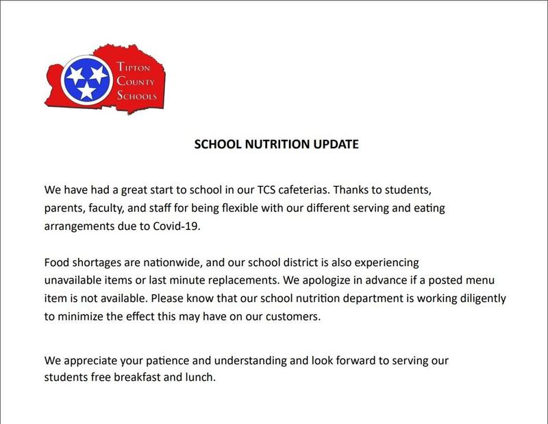 There is a school nutrition update for parents/guardians, stakeholders, and learners.