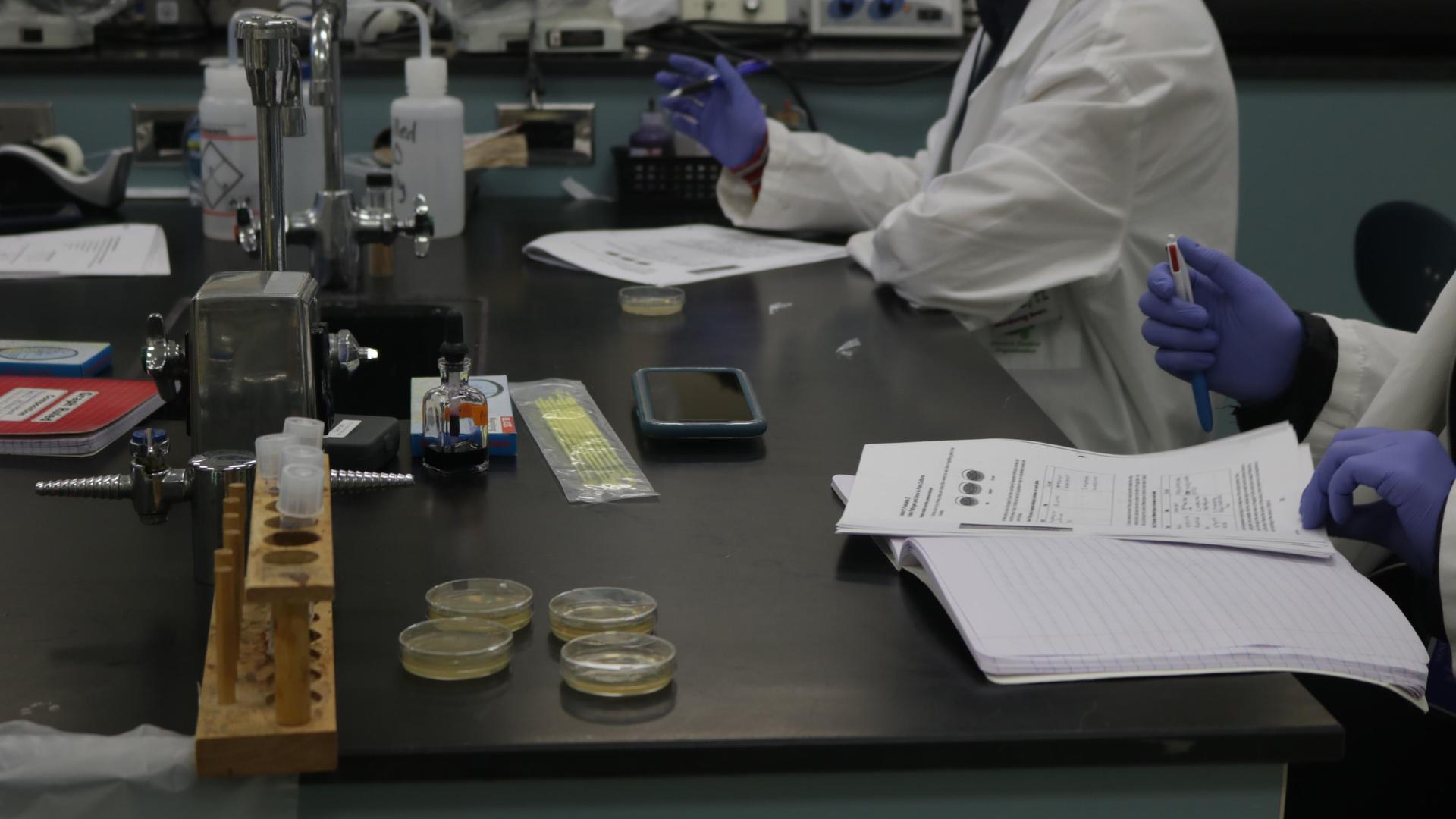 Classwork on lab table