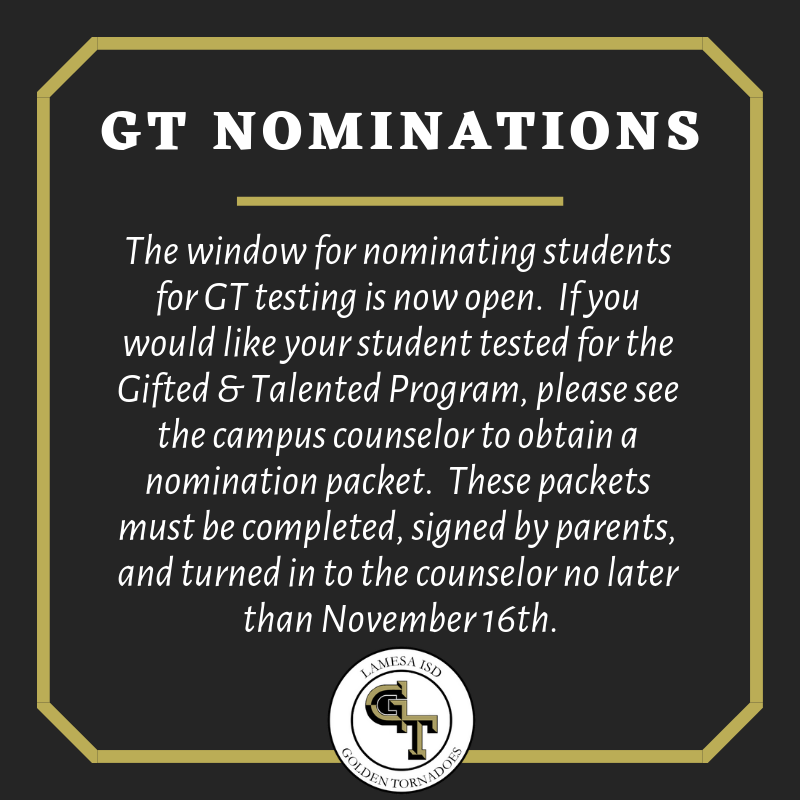 GT Nomination Window now Open! Thumbnail Image