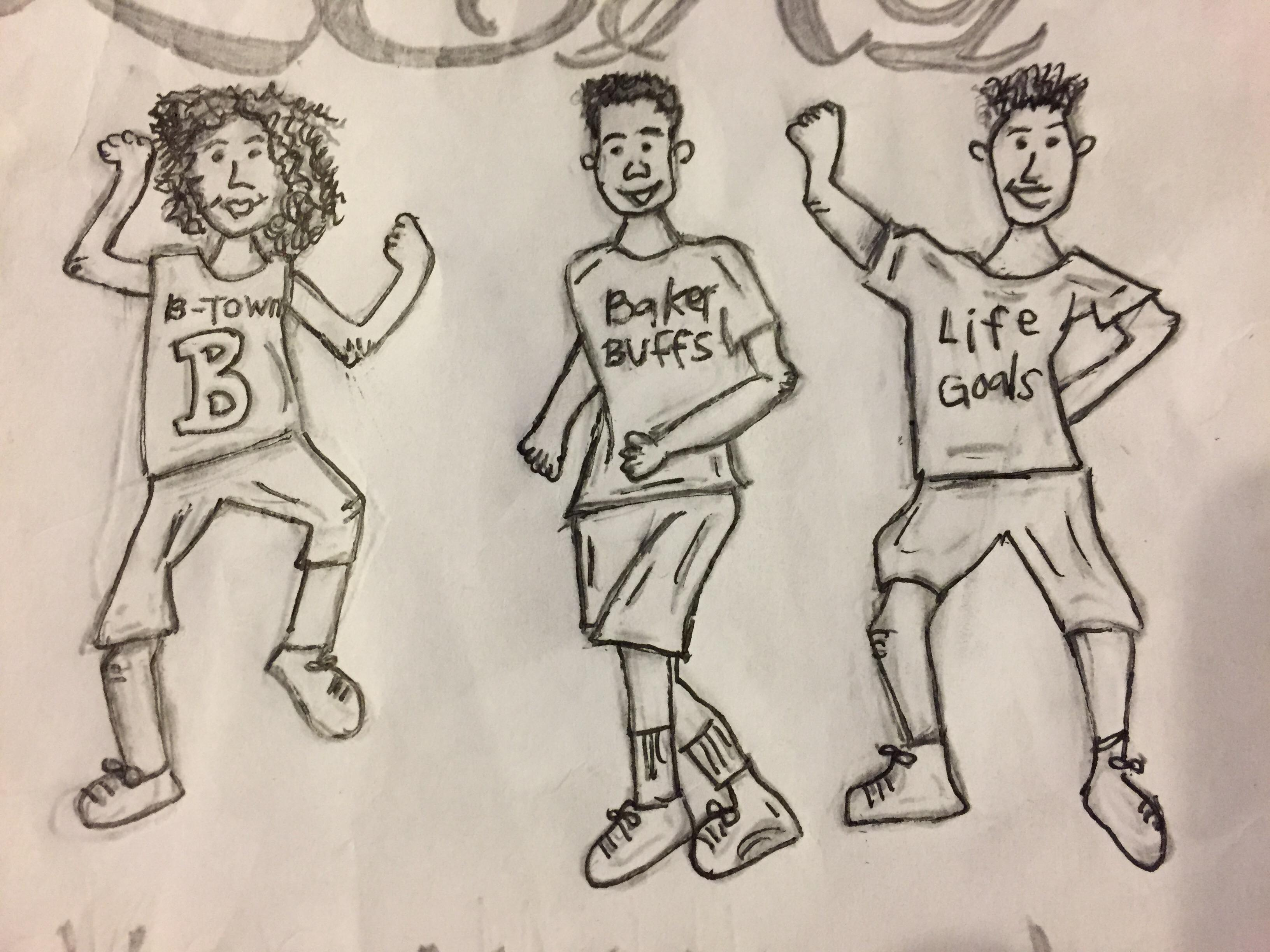 Hand Draft of Baker Middle LEAP TShirt Submission