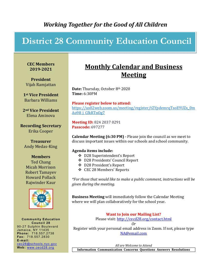 Monthly Calendar and Business Meeting