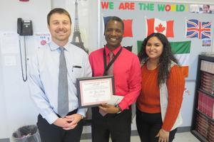 Zyon Smiley Teacher of the Month
