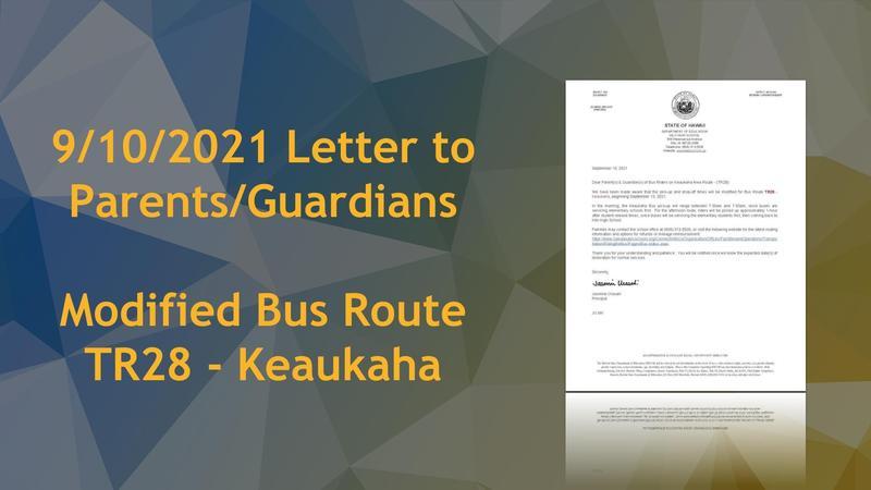 LTP - Bus Route Modification TR28 - 09/10/2021 Featured Photo