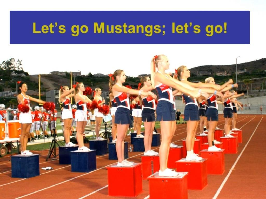 Mustang cheerleaders at football game