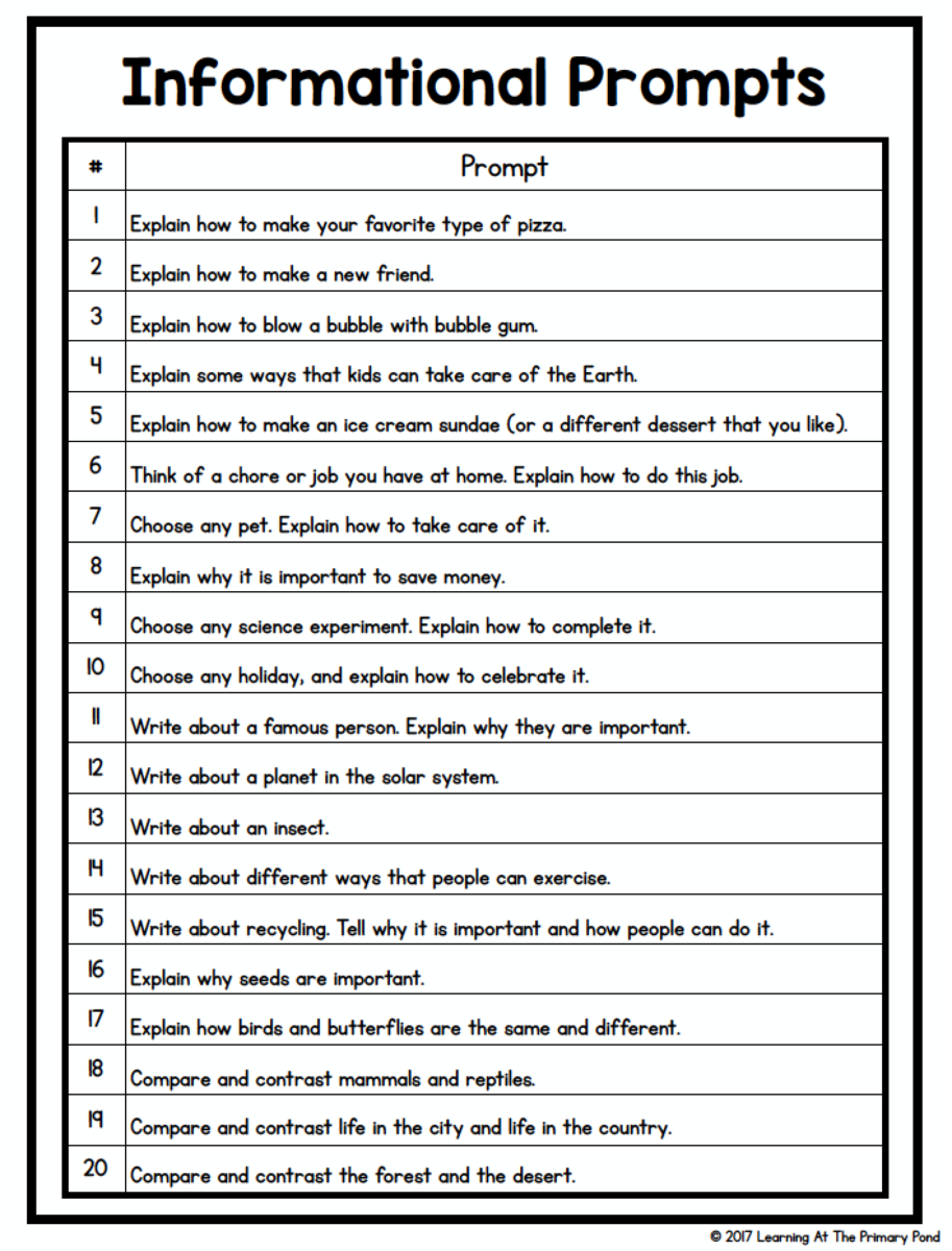 Info Writing Prompts