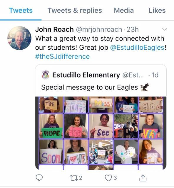 Estudillo Elementary Retweet screenshot