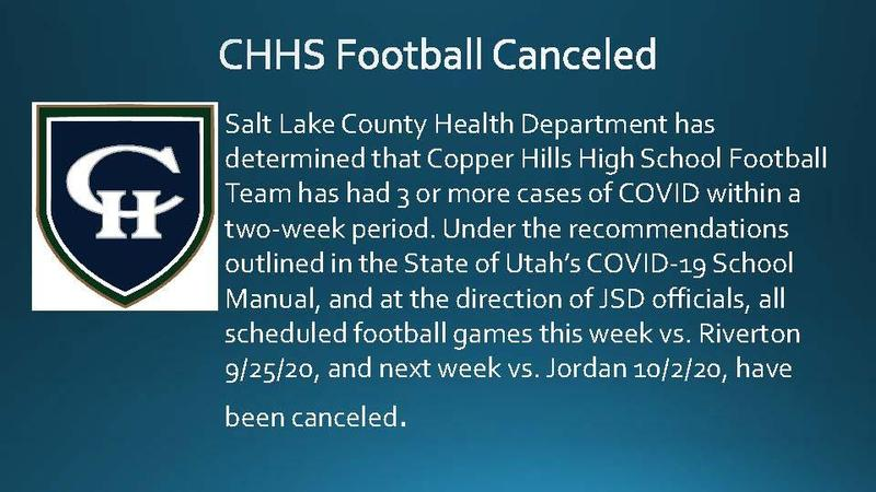 Football Canceled until 10/9/20