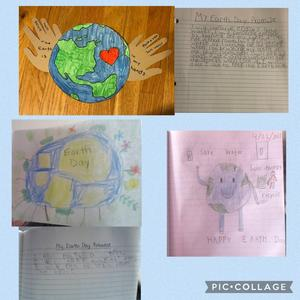 3 Earth drawings and 2 write-ups collage