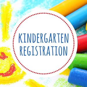 Colorful crayons surrounding a circle with the word Kindergarten Registration in the center