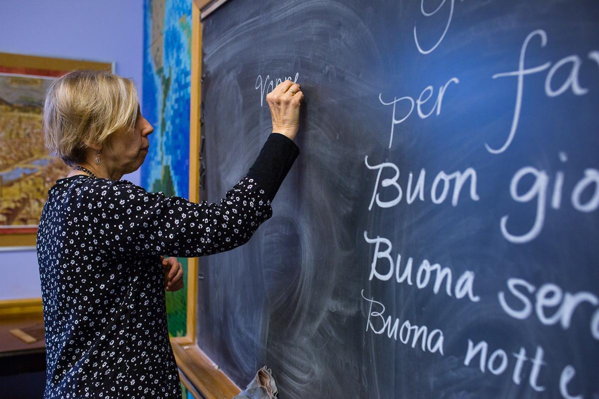 Teacher at Chalk Board