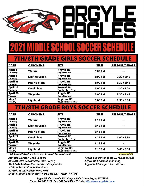 2021 Argyle MS Soccer Schedule - Updated 4-5-21