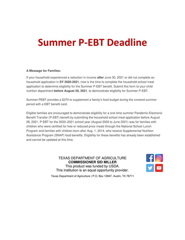 Summer P-EBT Deadline