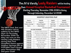 WES Students going to Hoopfest on Thursday, Nov 29th 2018