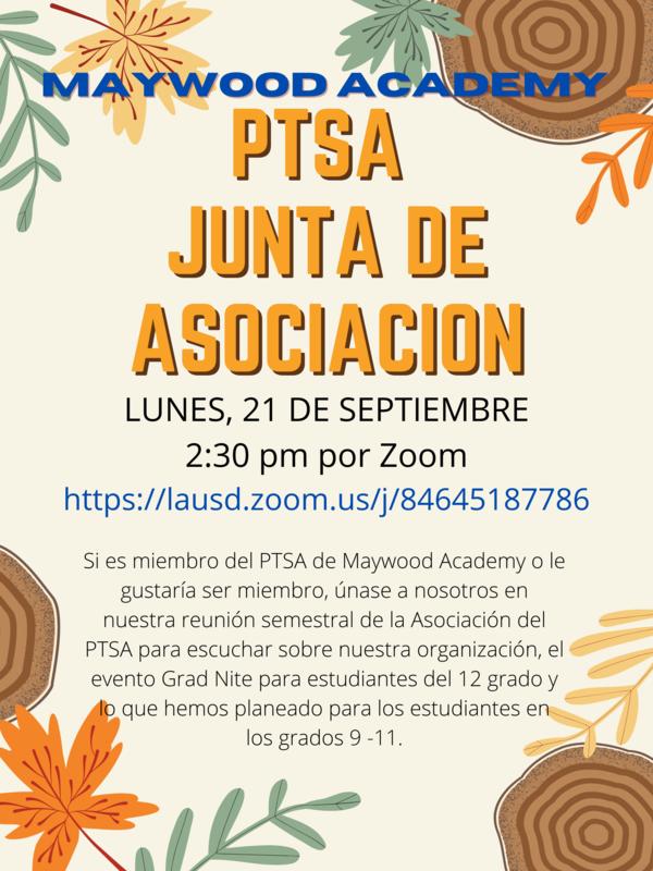 Spanish flyer for PTSA