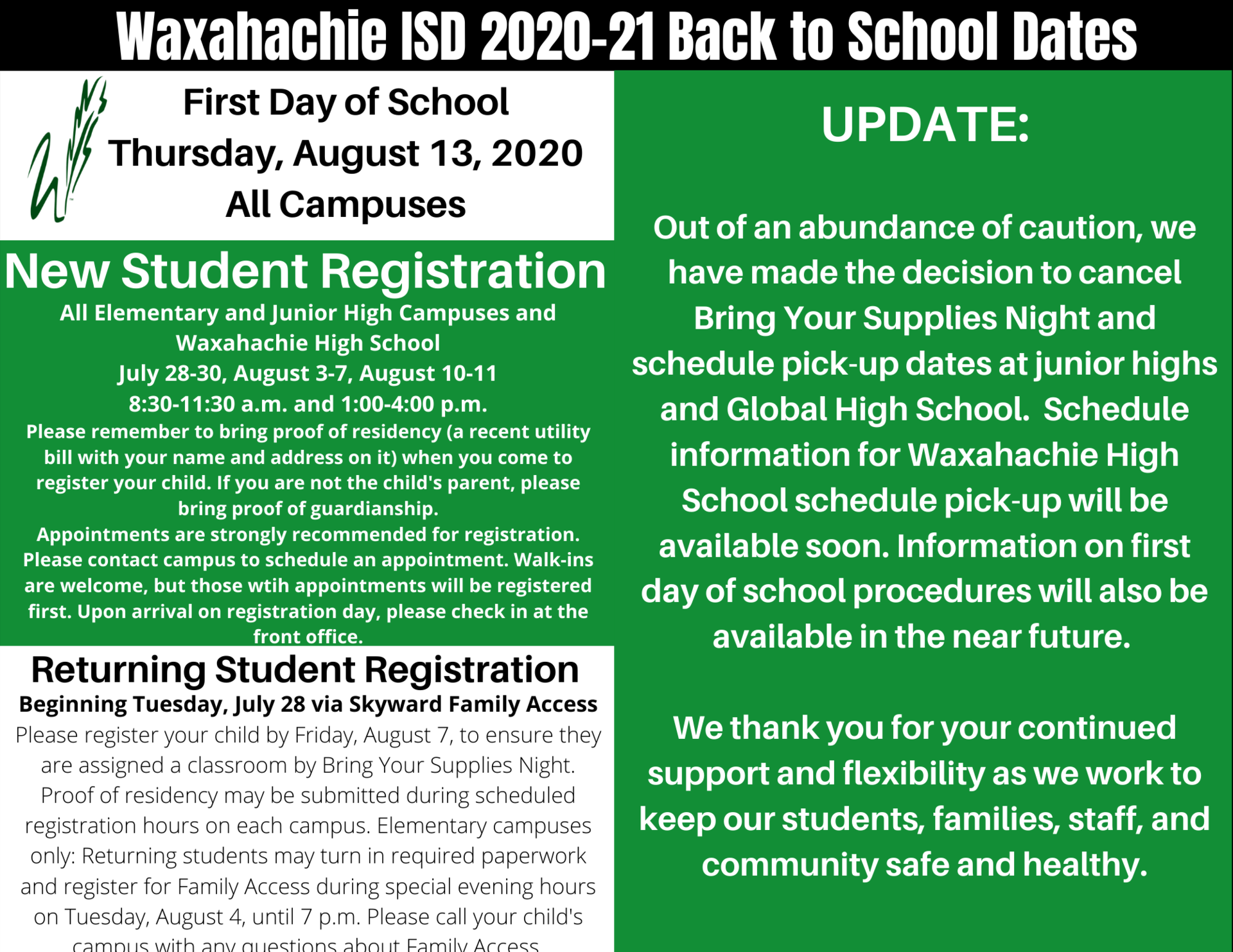 graphic with back to school details