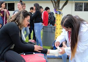 BPHS_HEALTH_FAIR_2: Baldwin Park High School students in the sports medicine pathway practice bandaging and taping wrists and ankles for classmates during the Vital Medical Academy's Health Fair.