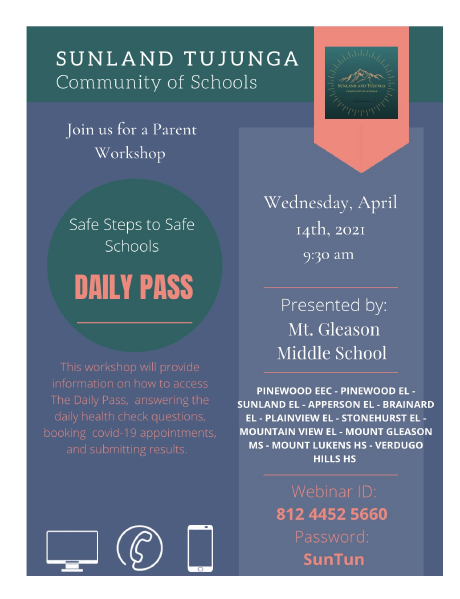 Join us for a parent workshop on Safe Steps to Safe Schools on Wednesday, April 14th at 9:30 AM
