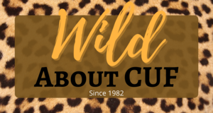 Leopard print background with Wild about CUF text