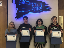 Red Ribbon Essay Contest winners: 1st place: Audra Thacker, 2nd place: Noah Nichols, 3rd place: Lily Meidlinger,(not pictured)   4th place: Sophria Daugherty,   5th place: Troy Delaney
