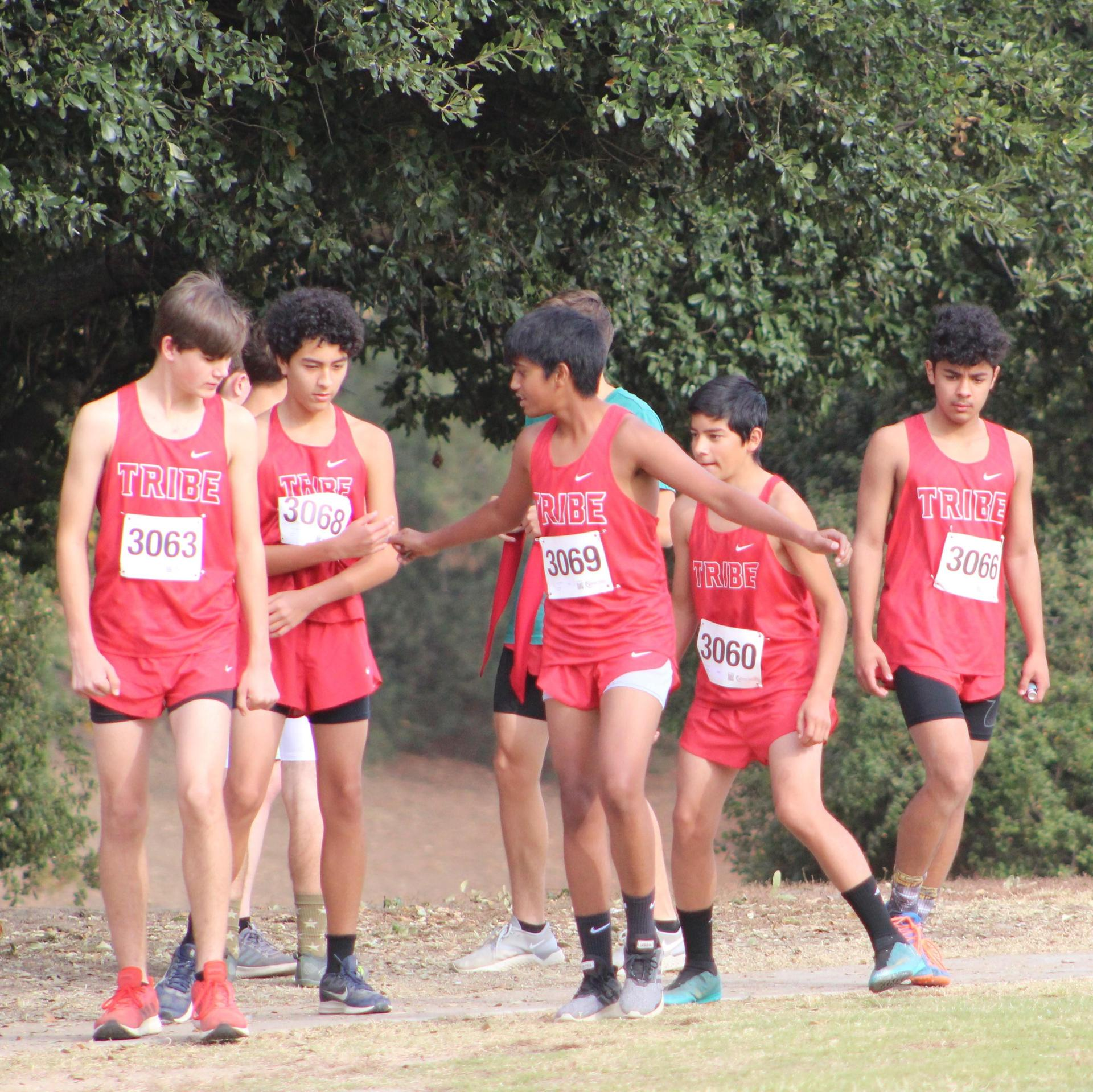 Boys warming up for race