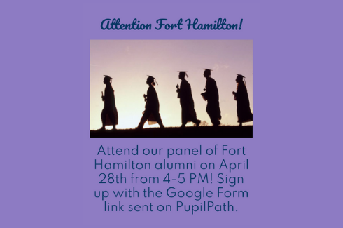 Alumni Panel: April 28 from 4-5 PM