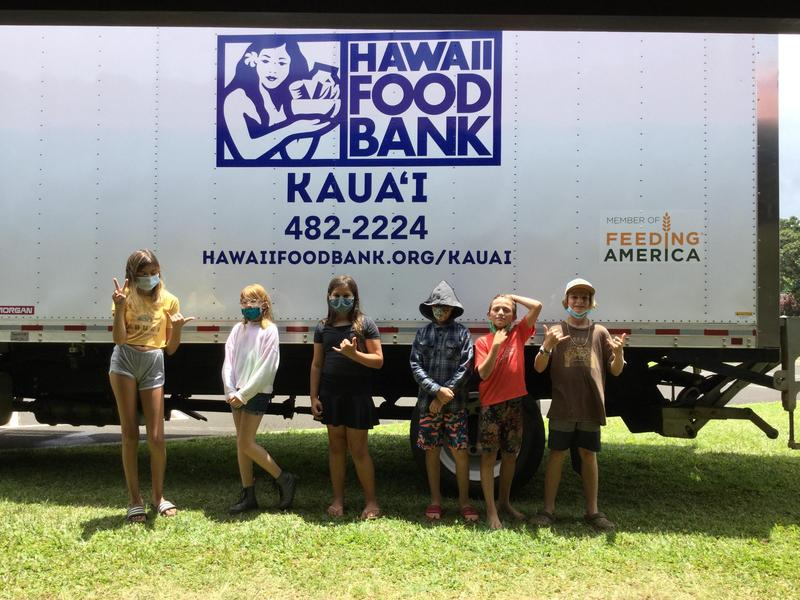 Student Council helpers by the Kauai Foodbank delivery truck