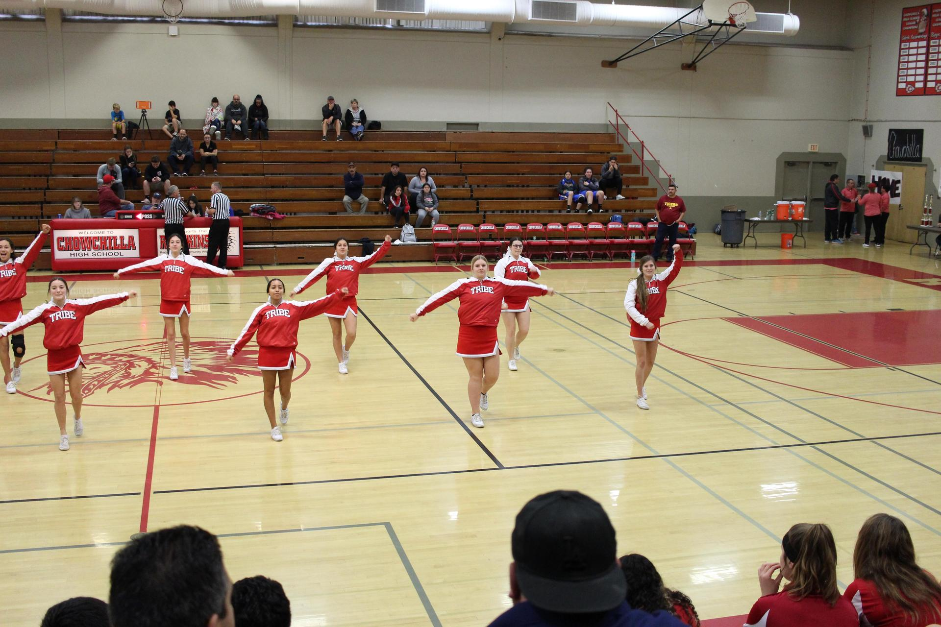 Varsity Cheer at Los Banos Basketball game
