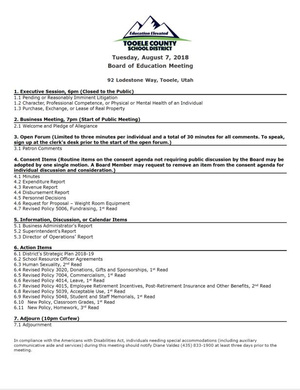 Board of Education meeting agenda