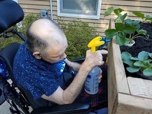 Photo of man watering plants