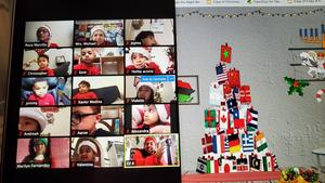Zoom class with Flag Christmas tree