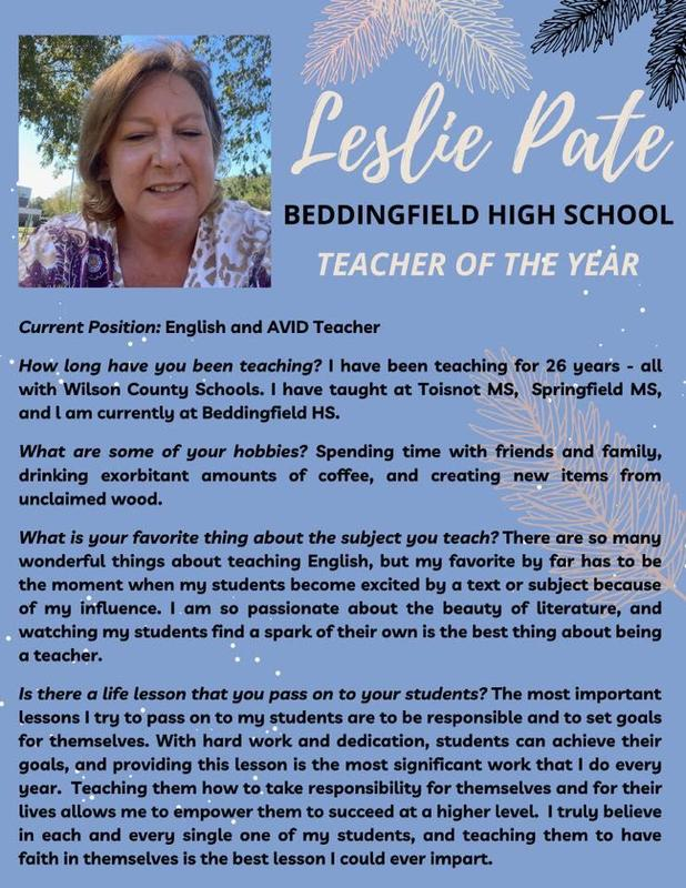 Leslie Pate from Beddingfield HS!