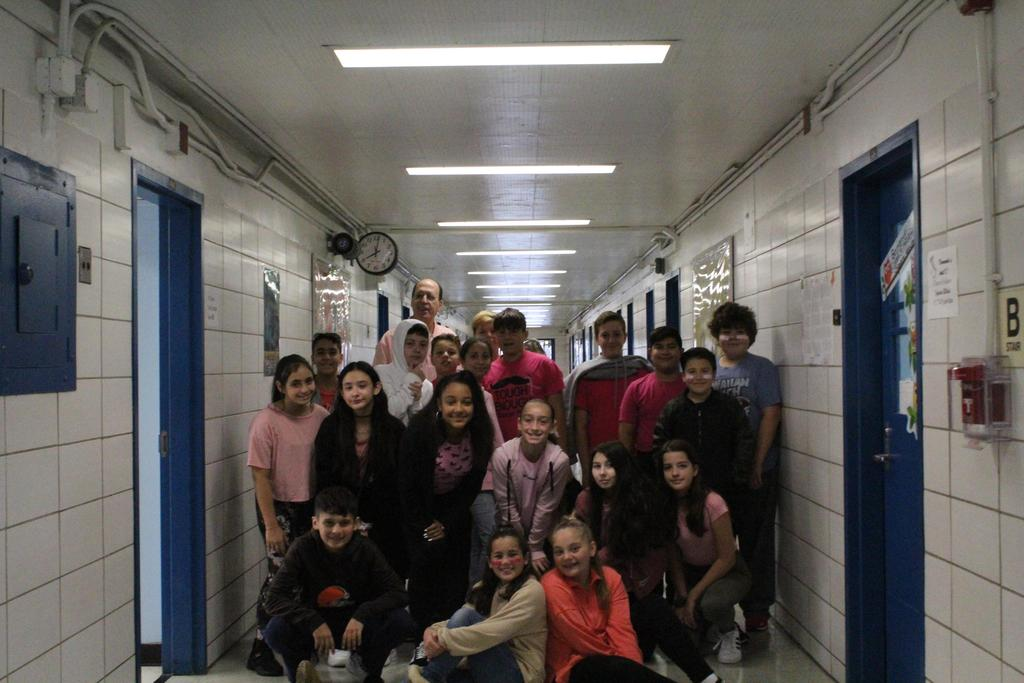 Seventh grade students wear pink for Breast Cancer Awareness