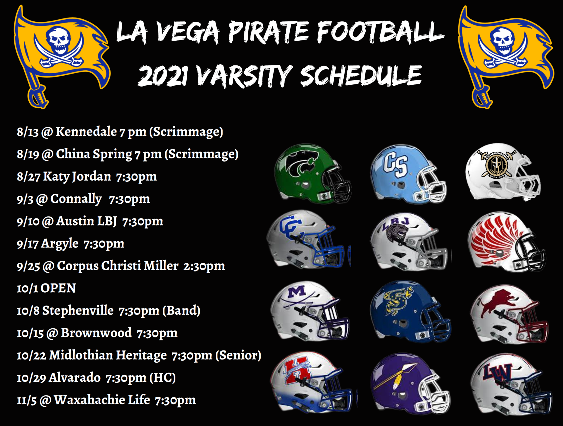 2021 High School Varsity Football Schedule
