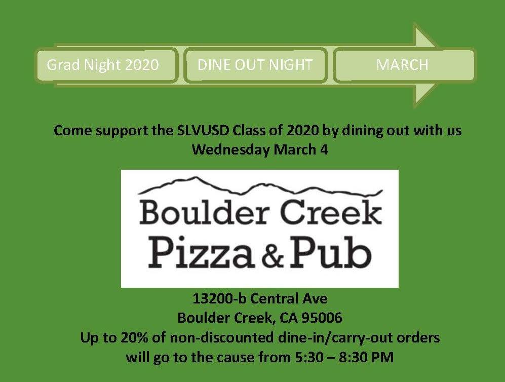 boulder creek pizza and pub dine out night March 4