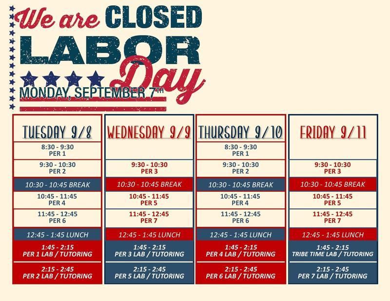 Labor day week schedule