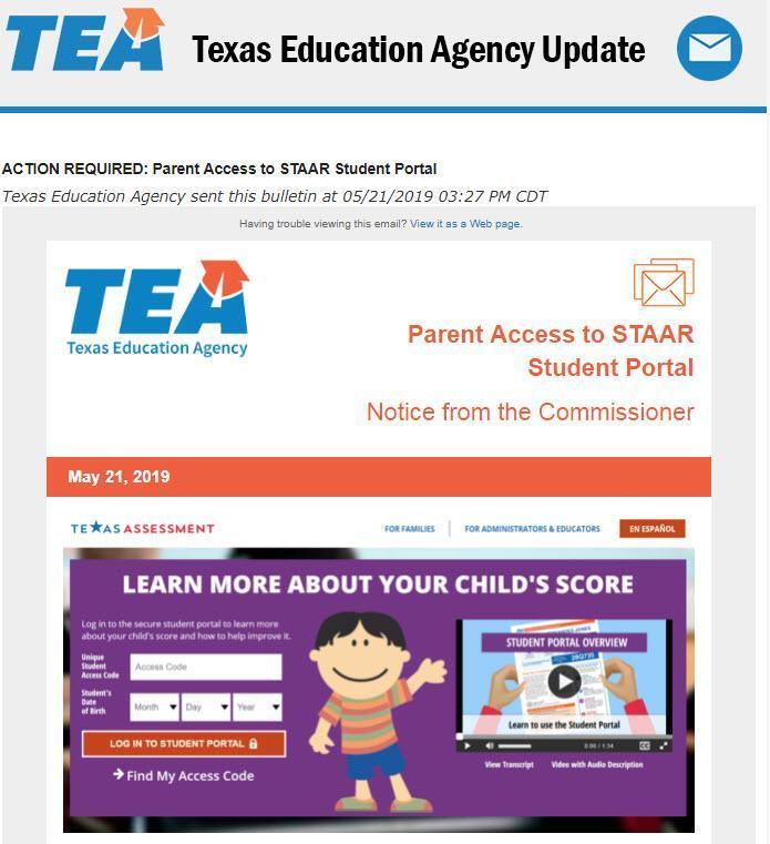 TEA STAAR Posting Screenshot