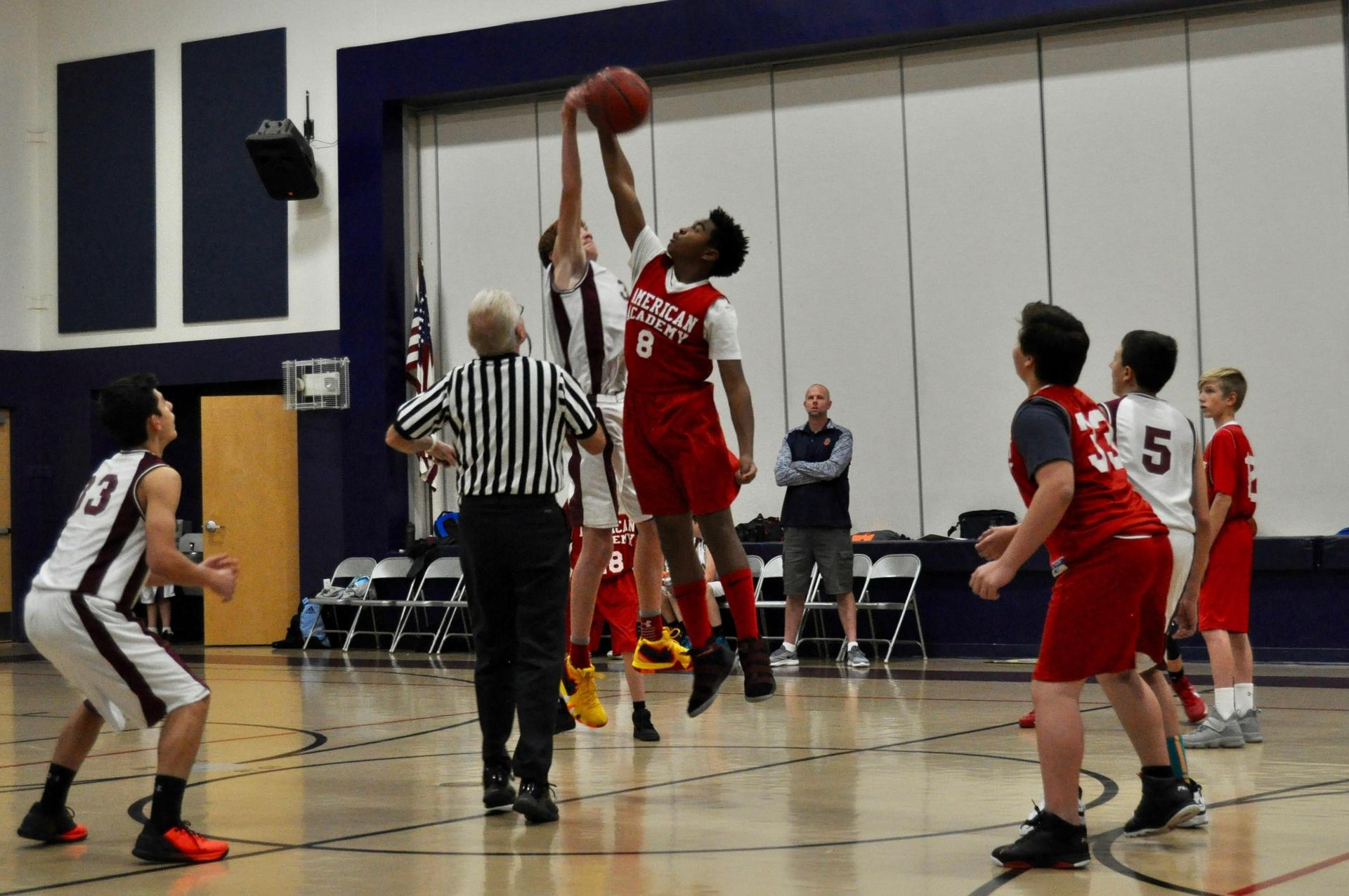 boys basketball tip off